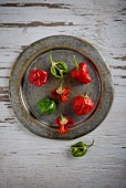 Scotch Bonnet chillis, whole and halved, on a metal plate
