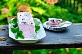 Iced pea terrine on a garden table