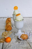 Physalis ice cream with sliced physalis