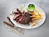 Wagyu ribeye steak with chips and wild garlic butter