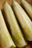 Gherkins cut into wedges (close-up)