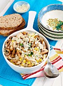 Creamy chicken, corn and mushroom risotto