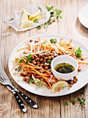 Carrot salad with roasted chickpeas