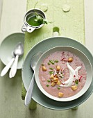 Radish soup with croutons