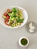 Gnocchi salad with tomatoes, rocket, fennel and pesto