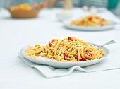 Linguine with slow-roast tomatoes