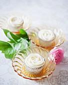 Rose cupcakes with chocolate cream