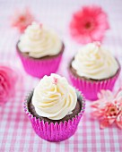 Chocolate cupcakes with chocolate buttercream and mini roses
