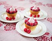 Chocolate cupcakes with raspberries