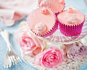 Pink cupcakes decorated with pigs