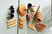 Various ice cream wafers and cones