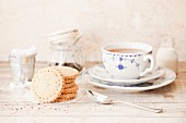 Chai shortbread biscuits with a cup of tea