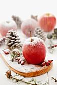 Weihnachtsdeko mit roten Äpfeln, Hagebutten, Zapfen & Puderzucker