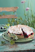 Berry tart with meringue, sliced