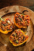 Peppers filled with minced lamb, vegetables and chicory