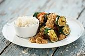 Vegetable skewers with gado gado and rice