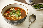 Sweet and sour vegetable soup with chicken