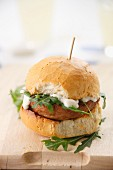 Lamb burger with rocket