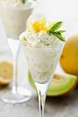 Lemon and melon mousse