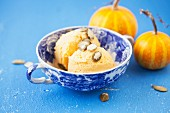 Spicy pumpkin ice cream with pumpkin seeds