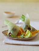 Leek parcels on a chicory and pumpkin salad