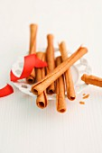 Cinnamon sticks and a red ribbon on a plate