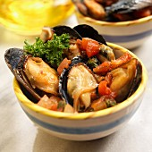 Spanish mussels steamed in a spicy tomato sauce