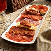Spanish charcuterie platter with Soria Picante, Sobrasada, Salchicon De Vic, Lomo and Jamon Sarano