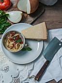 Tagliatelle with tomato ragout, basil and Parmesan