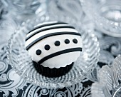 A black-and-white cupcake