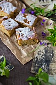 Apple cake tray bake with icing sugar