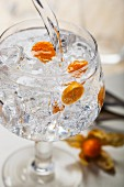 A gin and tonic with physalis