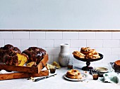 Saffron and sour-cherry bake and Paris Brest