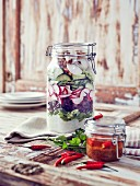 A jar of oriental radish salad