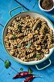 Fusilli with marinated prawns