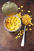 An opened tin of sweetcorn