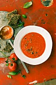 Cold tomato soup with juniper berries and flaxseed bread