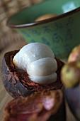 An opened mangosteen