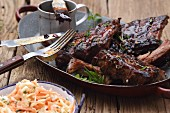 Spare ribs with coleslaw