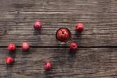 Frische Wildäpfel & eingemachtes Wildapfelkompott auf Holzuntergrund