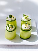 Cucumber rolls filled with cream cheese