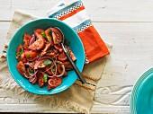 Hacienda salad (tomato salad with onions and coriander, Chile)