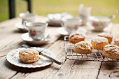 Teatime: a table laid with tea and scones