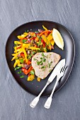 Tuna steak with a pepper medley