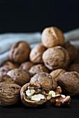 Walnuts and a broken open walnut