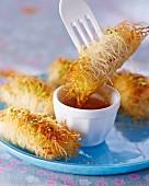 Chicken kadaifi with a dip
