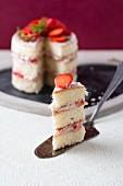 Sliced strawberry cream cake