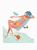 A woman wearing a bikini sunbathing on a beach with a book on her head (illustration)