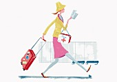A woman running through an airport with a suitcase and a travel first aid kit (illustration)