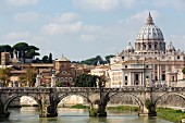 A view over the River Tiber of St Peter's Cathedral, Vatican, Rome